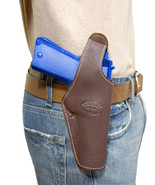 New Barsony Brown Leather Belt OWB Holster for CZ, EAA Full Size 9mm 40 45 - $46.99