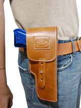New Barsony Tan Leather Flap Gun Holster Smith & Wesson Full Size 9mm 40 45 - $69.99