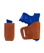 New Barsony Tan Leather Yaqui Holster + Mag Pouch Kel-Tec Sccy Kimber Co... - $44.99