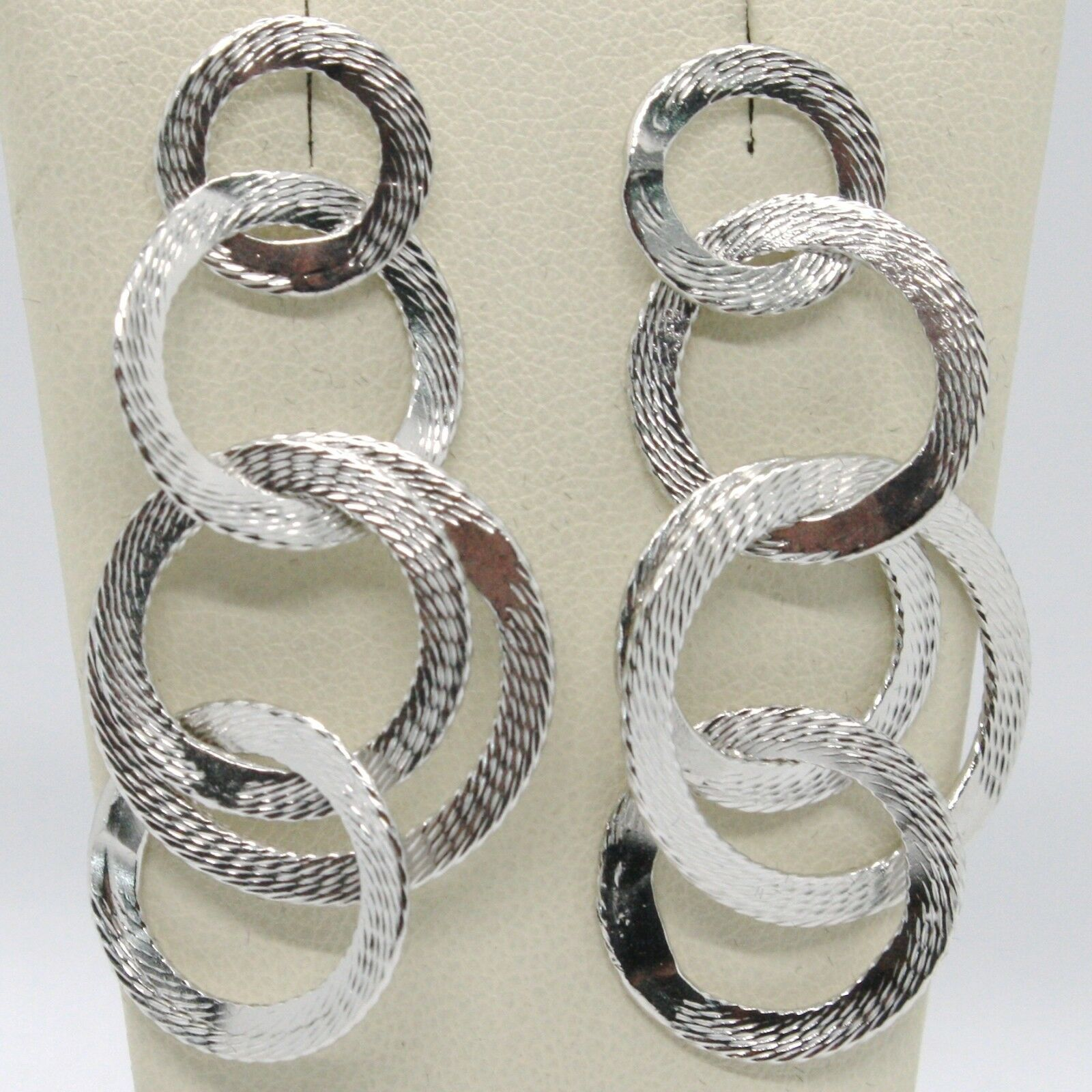 DROP EARRINGS 925 SILVER WITH CIRCLES WORKED BY MARY JANE IELPO, MADE IN ITALY
