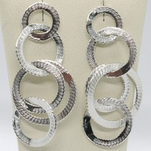 DROP EARRINGS 925 SILVER WITH CIRCLES WORKED BY MARY JANE IELPO, MADE IN ITALY image 1