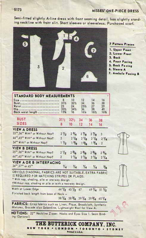 1970's Misses' A-Line DRESS Pattern 5173-b Size 12  UNCUT
