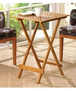 Folding Table 28 inch high Bamboo Rectangular T... - $34.95