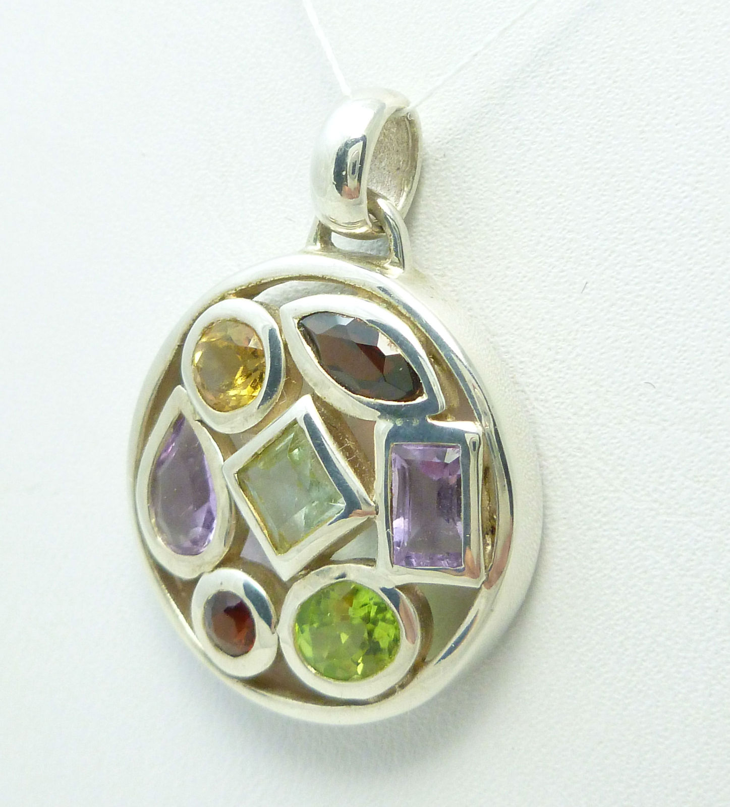 Primary image for Sterling Silver Multi-Gemstone Round Pendant