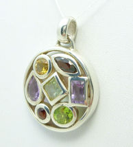 Sterling Silver Multi-Gemstone Round Pendant  - $54.00