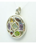 Sterling Silver Multi-Gemstone Round Pendant  - $45.00