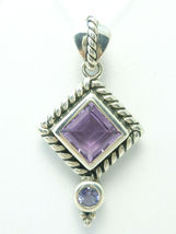 Sterling Silver Amethyst and Iolite Diamond Shape Pendant Rope Design - $73.00