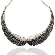 Silver Big Hinged Angel Guardian Wing Statement Chain Collar Choker Fashion  - $36.44