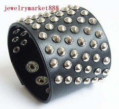 8 inch gothic black leather stud wristband #18 - $3.49