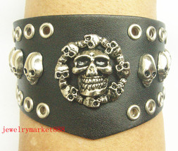 8 inch gothic black leather stud wristband #279 - $3.49