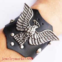8 inch gothic black leather stud wristband #565 - $3.49