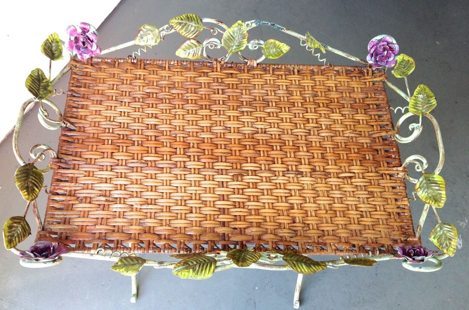 Wrought Iron & Rattan Antique Tray Table Embellished with Flowers and Scroll