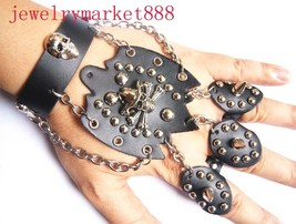 8 inch gothic black leather stud wristband #586 - $3.49