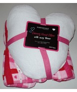Dreamy Heart Pillow with Cozy Throw White Heart Shaped Pillow Pink Throw... - $24.99