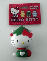Hello Kitty Elf Ornament Christmas White Red Green 3D NWT FREE SHIP - $19.32