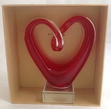 Home Essentials Red Art Glass Heart Clear Base ... - $49.95