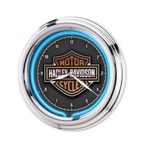 Neon Wall Clock Harley Davidson Chrome Housing ... - $77.00