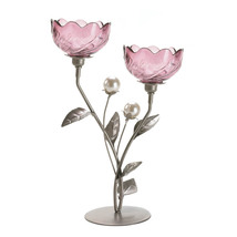 Candleholder mulberry-hued and pearly shine Two... - $14.99