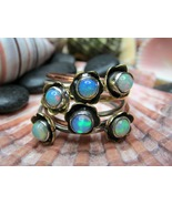 Sterling Silver and Mixed Metals Natural Opal Ring 6.69g SZ8 - $25.00