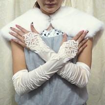 FINGERLESS BRIDE BRIDESMAID FINGERLESS SATIN FRENCH LACE PEARL ACCESSORI... - $9.50