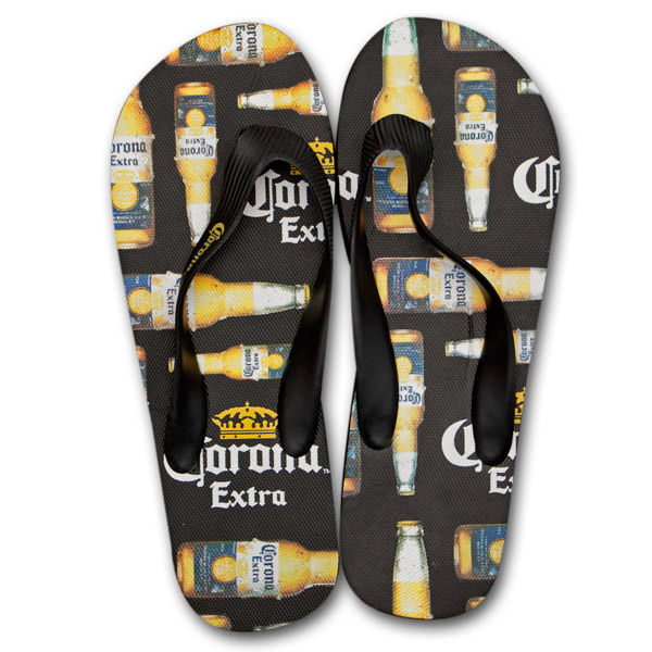 Corona Extra Bottle Print Mens Flip Flops Black