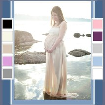 Baby Bump Luxury Lingerie Flowing Long Lace Chiffon Negligee in 10 Color Choices image 2