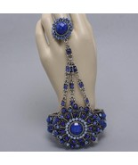 Hand chain blue enchanted flower bracelet stretch ring crystals evening prom - $21.77