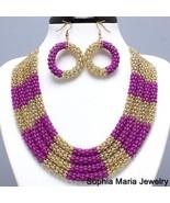 Gold pink fuchsia metal mesh layered necklace e... - $14.84