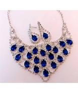 Evening Sapphire Blue Teardrop Crystal Necklace Set Evening Prom Bridesm... - $18.70