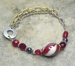 Red Glass & Mixed Metal Chain Style Bracelet - $13.99