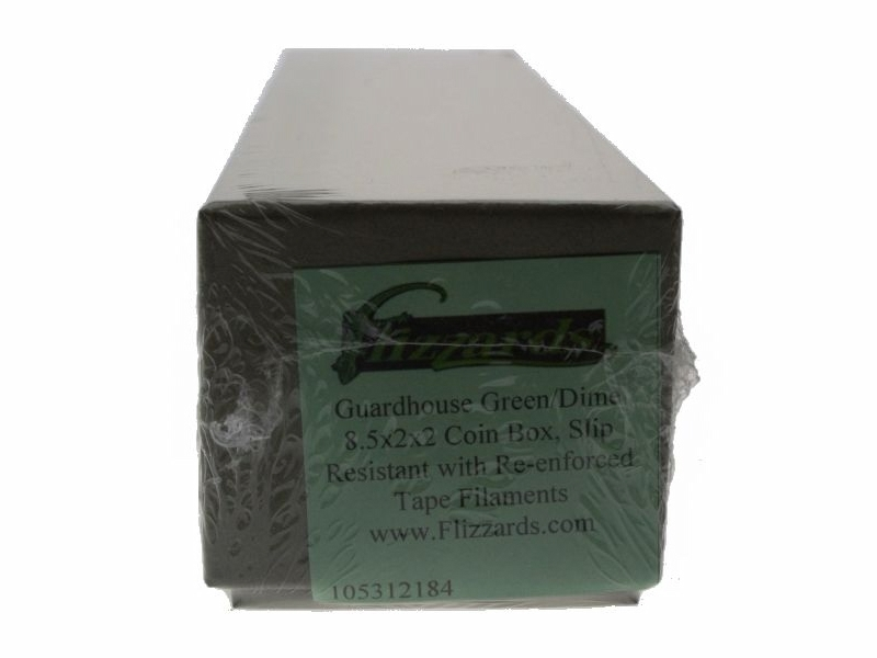 """2/"""" x 2/"""" x 8.5/"""" Guardhouse Green//Dime Coin Storage Box with 100 flips"""