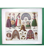 COSTUME of Alsace Lorraine Bonnets - COLOR Antiqe Print  A. RACINET - $9.45