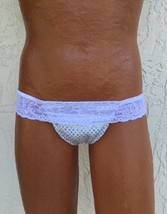 Panties For Men! Silver Hip Hugger Thong Panty With Lace Top - $24.00