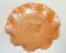 "8 1/2"" Dugan Marigold Carnival Glass Windflower Bowl Ruffled Edge Candy ... - $49.99"