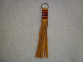 Native American Leather Key Chain Cut Glass Bea... - $39.99