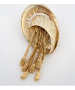 Chunky gold tone tussel vintage brooch pin stat... - $10.88