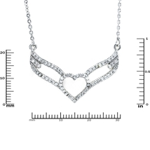 Glitzy Pave Clear AAA CZ Heart Angel Wing Necklace Rhodium Plated - $29.99