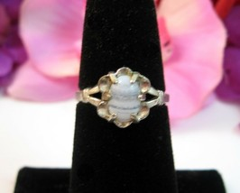 Striped Stone SOLITAIRE STERLING SILVER RING Vintage Clear White Oval Si... - $12.99