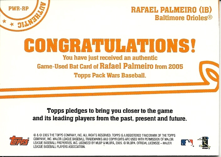 2005 Topps Pack Wars Relics Rafael Palmeiro PWR-RP Orioles