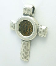 Sterling Silver Hammered Cross Pendant Widows Mite - $67.00