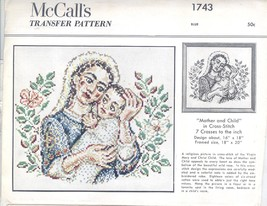 Virgin Mary & Christ Child cross stitch transfer pattern Mccalls 1743-de... - $10.00