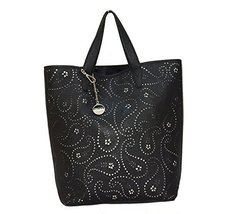 DKNY DONNA KARAN BLACK PERFORATED LEATHER SHOPPER BAG - $194.52