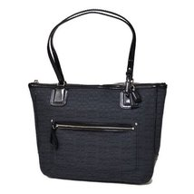 "COACH Poppy Signature ""C"" Oxford Small Tote 25051 Black Black [Accessory] - $275.22"