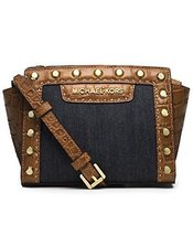 MICHAEL Michael Kors Selma Pick Stitch Mini Messenger Bag (Dark Denim) - £166.37 GBP