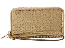 Michael Kors Perferated Flower Tech Continental' Leather Wallet Gold - $266.31
