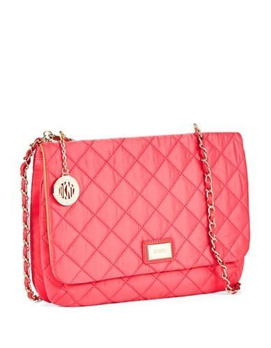 Dkny Quilted Flap Crossbody Bag with Chain Handles Popsicle Pink