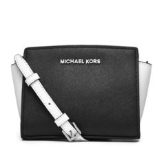 Michael Kors Selma Mini Colorblock Messenger Bag in Black and White - £191.81 GBP