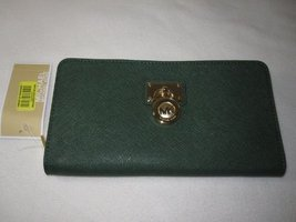 Michael Kors Hamilton Large Zip Around Malachite Green Clutch Wallet Leather ... - $152.96