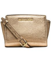 Michael Michael Kors Selma Mini Messenger Bag Pale Gold - £184.61 GBP