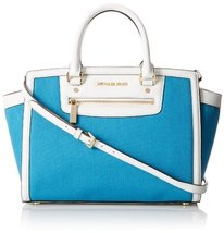 Michael Kors Large Selma Top Zip Canvas Satchel in Summer Blue [Accessory] - $265.32